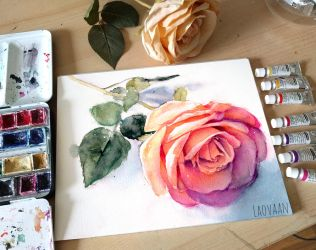 Watercolor Rose by Laovaan