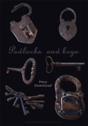 old padlock and key by ftourini-stock