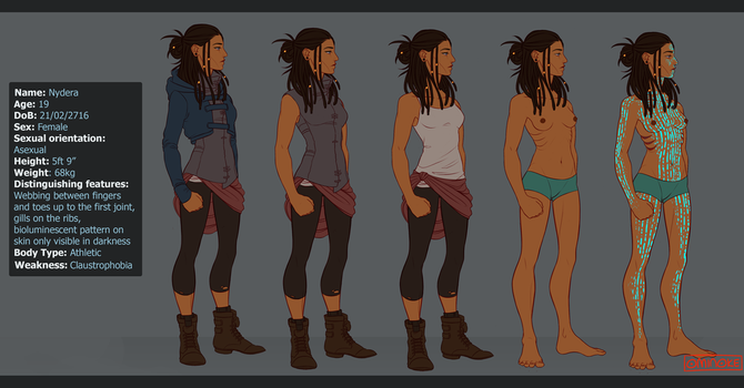 OC: Nydera, Costume sheet by Riding-Lights