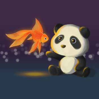Panda and Fish by theblueguy07