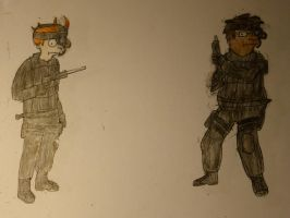 Fry and Hermes Soldiers (Colored) by Spaceman130