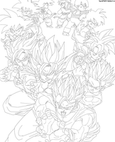 The Evolution of Goku and Gohan Lineart by JamalC157