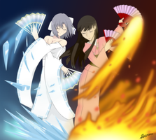 A Dance of Ice and Fire: Yumi and Yukiko by BurningTiger9000