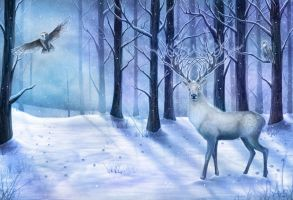 The White Stag of Winter by CLB-Raveneye