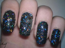 Holographic Stripes Glitter Nail Design by AnyRainbow