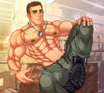Hot sweaty soldier (boots) by blueglueclue