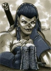 Orc Dungeon Dolls Sketch Card by RichardCox