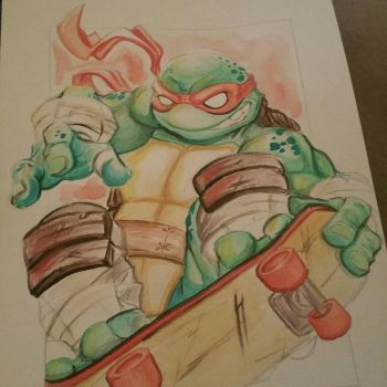 Mikey tmnt watercolor by Dee9922