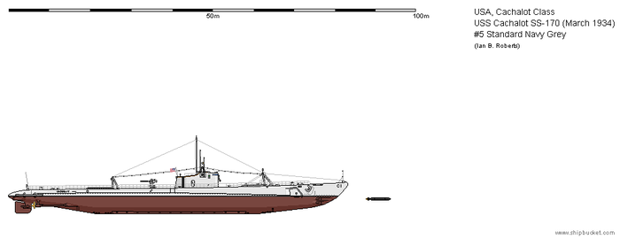 USS Cachalot C-1 (March 1934) - #5 Navy Grey by ColosseumSB