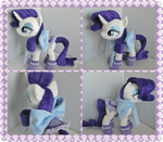 Rarity with saddle socks and big blue bow by GreenTeaCreations