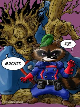 Rocket Raccoon and Groot by ksolaris