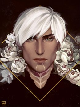 Let me draw Fenris with pretty flowers by PandaleonSaa