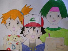 Misty, Ash, and Tracey by AJLeefan4life