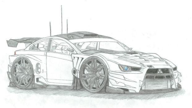 Time Attack Evo 10-uncoloured by CurtTheMadProfessor