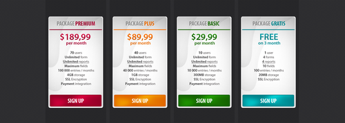 Pricing table by Logarithmus
