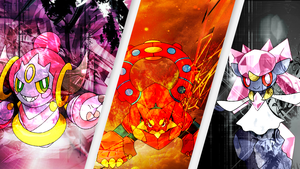 Pokemon X and Y Trio Diancie, Hoopa and Volcanion by blazeking24