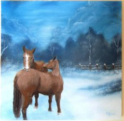 Horses in snowy field painting by DJgray87