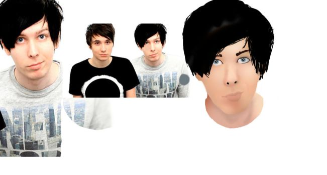 Dan And Phil Wip PHIL FACE DONE by cuddlykittens123