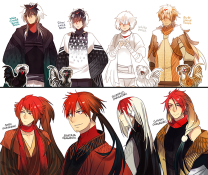 Plume Parade: Rooster Brothers by Cioccolatodorima