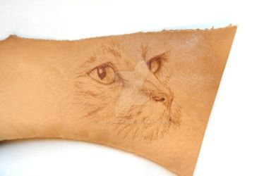 Pyrography Portrait of a Cat on Leather by Ange1ica