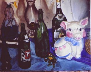 still life with bottles-pig by SteevDragon