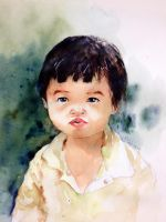 Watercolor Portrait of my daughter by young920