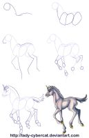 How To Draw A Baby Unicorn Tutorial by lady-cybercat