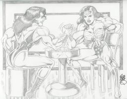 Buff Wonder Woman and She-Hulk by Robb Phipps by zefly88