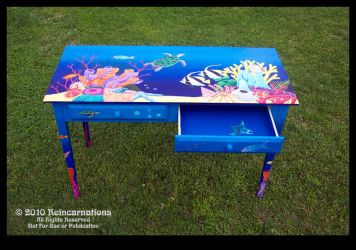 Reef Table - Right Drawer Open by ReincarnationsDotCom
