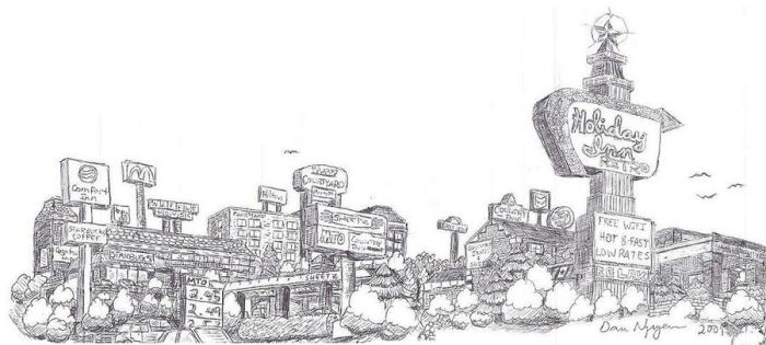 Town Drawing by dvn225