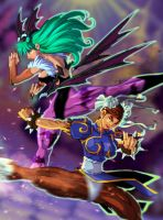 Morrigan VS Chun-Li by nfteixeira