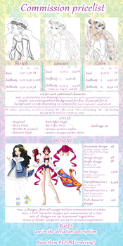 Commission Pricelist 2016 by GardenOfDaisy