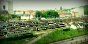 Tiny Trains Stopped at Railway Station (Tiltshift) by Cloudwhisperer67