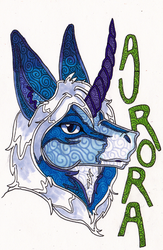 Stained Glass Style Headshot Badge: Auroroa by talakestreal