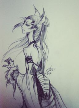 Sketch: Fox Spirit by ghost