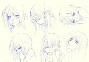 sketches crying girls by X3KiKiX3