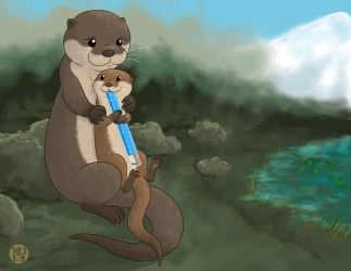 Otter Mom And Pop Landscape by Kairu-Hakubi