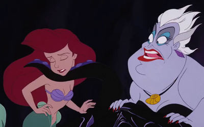 Ursula Pulls Ariel along by the Chin by Arielfan90