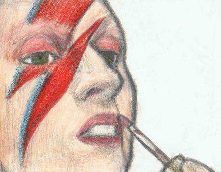Lady Gaga trying David Bowie's makeup by gagambo