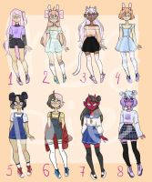 Adoptables batch open (2\8) by cherry----pie