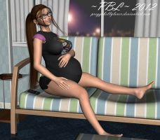 Relaxing before bed by PreggoBellyLover