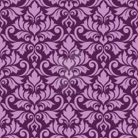 Flourish Damask Ptn Pink on Plum by NatPaskell