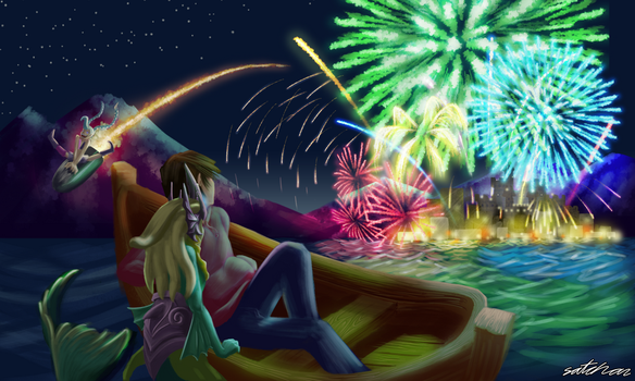Fireworks viewing at Sea (w/ Nami) by SatchanSatchiiSan