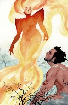Dark Phoenix and Wolverine by kevinwada