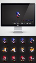 Sonic Tails Knuckles - 16bit Wallpaper Pack by LaChRiZ