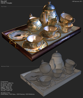 Gold and Blue Flower Tea Set by DRSpaceman