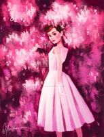 Audrey Hepburn Birthday Tribute - Pink Flowers by DylanBonner