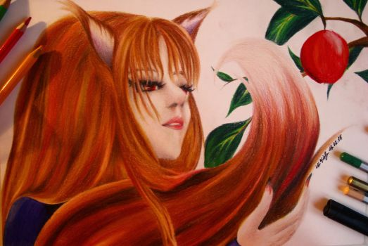 Horo - Spice and Wolf fanart (waterpencil drawing) by Huyen-Linh