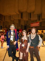 Me and Chase with random Steampunk guy- Sakuracon by Jagarnot