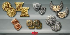 Waterdeep DragonHeist coin concepts by OlgaDrebas